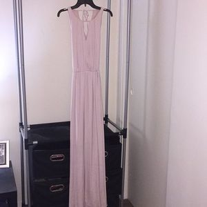 Jennifer Lopez soft pink satin long dress.
